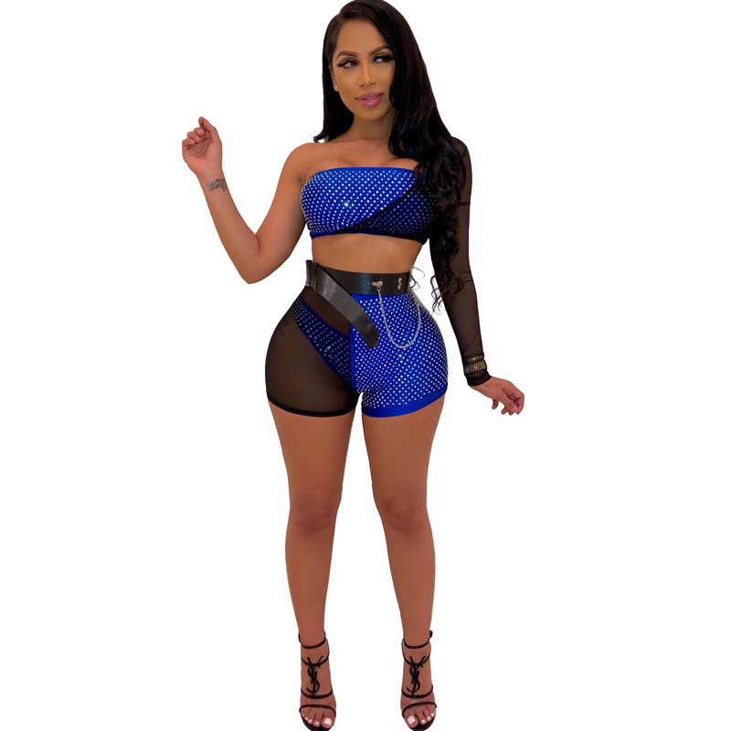 Summer new women's hot drilling unilateral sleeves jumpsuit three-piece set without belt sexy mesh one-piece shorts suit