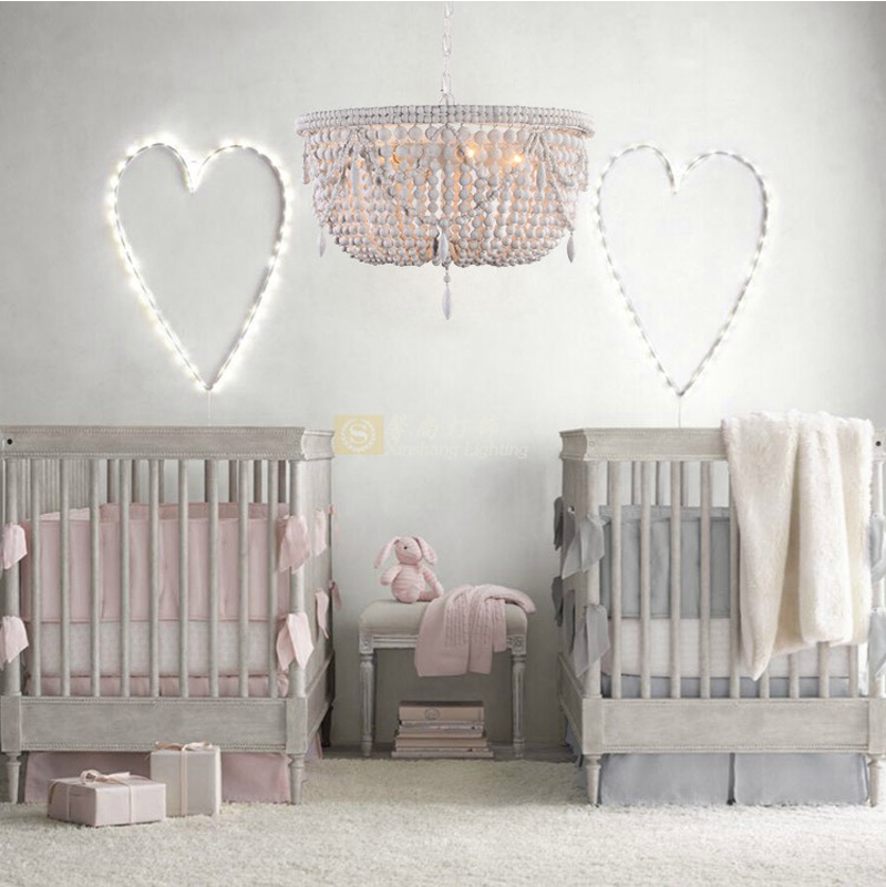 Phube освещение ретро люстры деревянные бусины люстра свет детская комната спальня принцесса комната люстра домашнее освещение