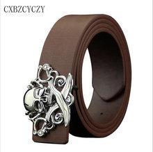 2016 Style Mens Belt Luxury Real Leather Women Belts For Men Hot leisure Skull belt high quality