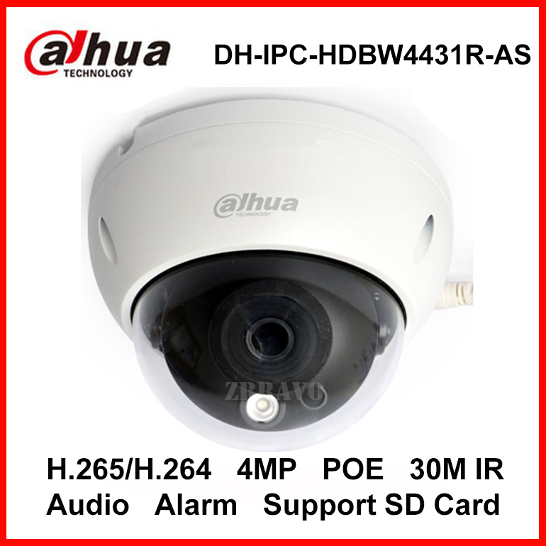 Dahua 4MP DH-IPC-HDBW4431R-AS IR HD 1080P H.265 IP Camera Security CCTV Dome Camera Support POE Network Audio Alarm SD Card Slot