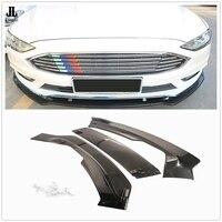 Glossy Black / Carbon Fiber Front Bumper Chin Spoiler Lip For Ford Fusion Mondeo 2017 2018