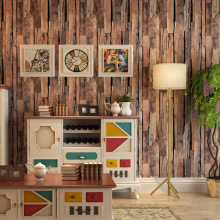 Retro nostalgic wallpaper Imitation wood texture fashion living room shop office PVC material Wood color wallsticker