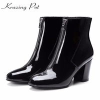 Krazing Pot 2018 Cow Leather Keep Warm Square Toe High Heels Zip Decoration European Designer Handmade