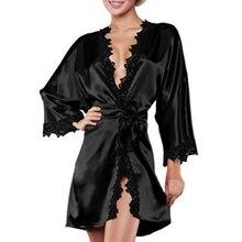 цена Women's Lace Trimmed Short Kimono Robe Nightwear Nightgown Sleepwear Sexy Silky в интернет-магазинах