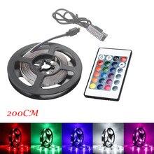 50 200CM USB LED רצועת בית סלון אור טלוויזיה חזרה מנורת 2835 RGB צבע שינוי + מרחוק בקרת DC 5V מחרוזת תאורה