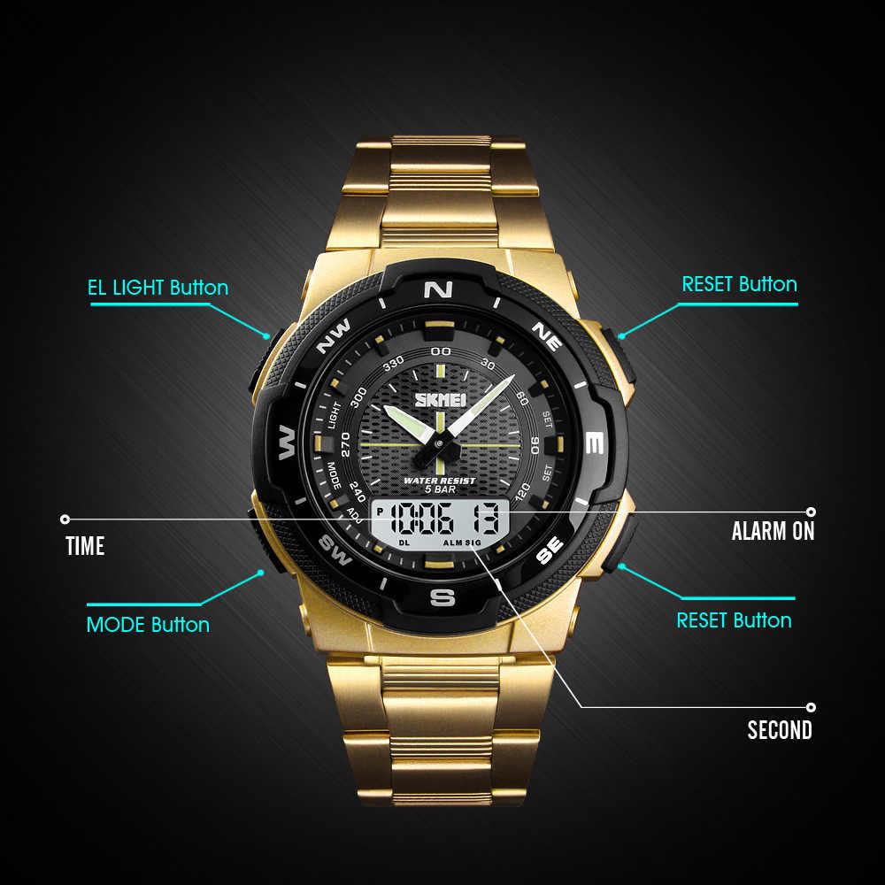 Skmei relógio masculino moda esporte relógios pulseira de aço inoxidável relógios dos homens cronômetro à prova dwaterproof água relógio de pulso