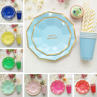 Gold Rim Disposable Paper Tableware Sets Paper Drinking Straw Cups Plates Napkins Serviettes Utensils Birthday Party