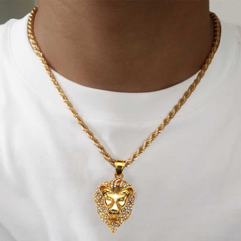Karopel Men Hip Hop Jewelry Iced Out CZ Bling Lion Head Pendant Men Necklace Gold Filled For Men Women Gift Wholesale