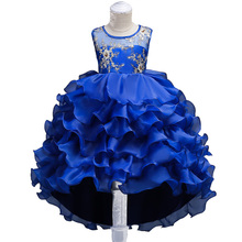 Girls Golden Embroidery Flower Dress Kids Long Tail Layered Cake Dress for Formal Pageant Party Teens Young Girls Prom Gowns