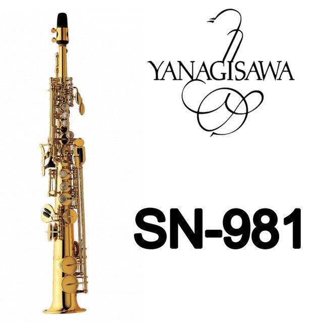 Laca de ouro Latão Sax Sopranino Saxofone YANAGISAWA SN-981 Profissional Bocal Correções Almofadas Juncos Curva Do Pescoço