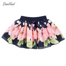 2017 Mode D'été marque domeiland vêtements bébé enfants imprimé Floral tutu coton Mousseline de Soie Arc Jupes partie couche Jupe vêtements