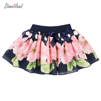 2017 Fashion Summer Brand Domeiland Clothing Baby Kids Print Floral Tutu Cotton Chiffon Bow Skirts Party