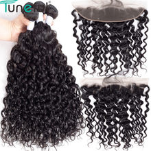 Water Wave Lace Frontal 13x4 Ear To Ear Lace Frontal Closure Tuneful Indian Remy Human Hair With Baby Hair Bundles With Frontal(China)