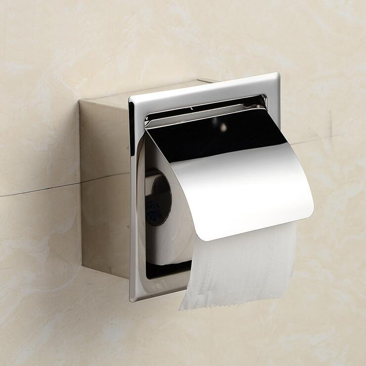 Bathroom waterproof stainless steel paper roll holder ... on Wall Mounted Tissue Box Holder id=90692