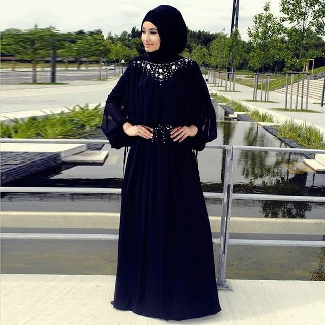 2016 Gaun Malam Muslim A Line Lengan Panjang Hitam Kristal Jilbab