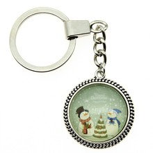 2 Colors Keyring 25mm Christmas Snowman Glass Cabochon Keychain Jewelry Gift Dropshipping Supplier