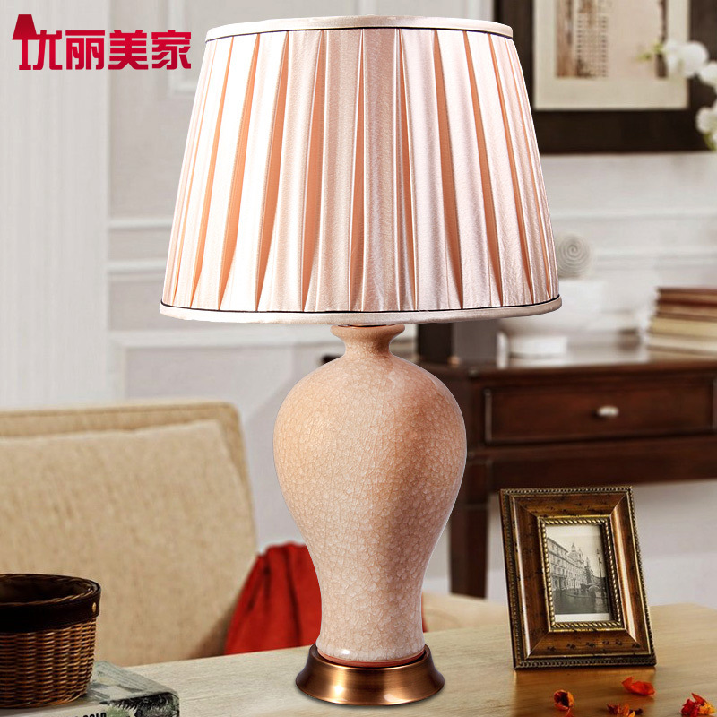 TUDA Free Shipping Retro Crack Glaze Ceramic Table Lamp Contemporary Style Table Lamp For Living Room Bedroom Study Room Lamp