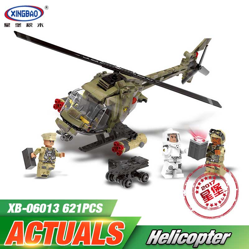 Genuine XINGBAO 06013 621Pcs Military Series The Fighting Helicopter Sets LegoINGys Building Blocks Bricks With Funny Kids Toys kazi 608pcs pirates armada flagship building blocks brinquedos caribbean warship sets the black pearl compatible with bricks