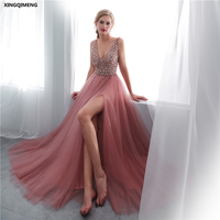 In Stock Sexy V Neck Cameo Brow Tulle Evenig Dress Elegant Long Formal Dress Sequined Beaded Women Chic Split Prom Gown
