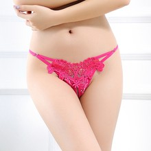Embroidery Thong G String Women Sexy Lace Panties Flirtatious Invisible Underwear Panty Briefs Girls Lady Lingerie with Sex Love(China)