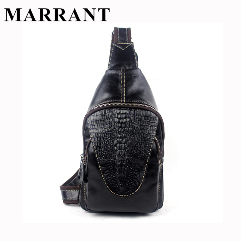 ФОТО MARRANT100% Genuine Leather Men Bags Hot Sale Alligator Pattern Man Pack Vintage Men Messenger Bags Crossbody Shoulder Bag 8082
