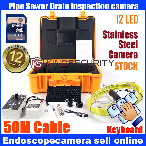 23mm De Poche Vidéo D'inspection Endoscope Serpent Portée Caméra Tuyau 50 m avec clavier enregistreur avec DVR enregistreur