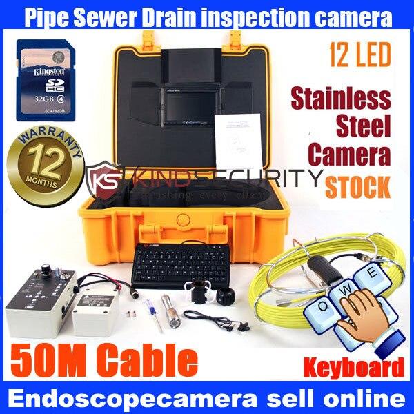 23mm Palmare Video Ispezione Endoscopio di Portata Del Serpente del Tubo Della Macchina Fotografica 50 m con la tastiera registratore con registratore DVR