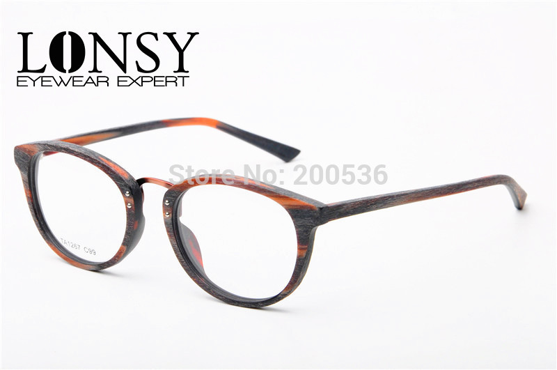 lonsy vintage imitation wood optical frames women glasses frame for prescription eyewear ta1267