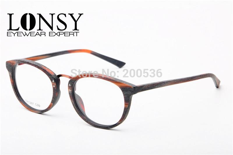 lonsy vintage imitation wood optical frames women glasses frame for prescription eyewear ta1267