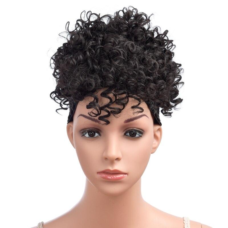 Dindong peruca cabelo curto encaracolado, clipe sintético