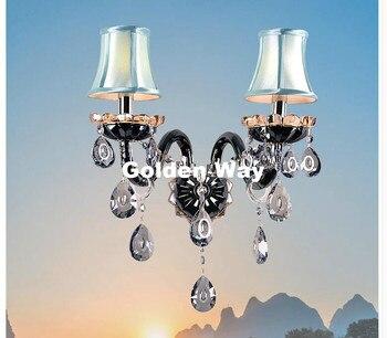 Modern European Black Clear Crystal wall Lamp luxury Bedroom Bedside Wall Candle E14 K9 crystal Wall Scones AC 100% Guaranteed