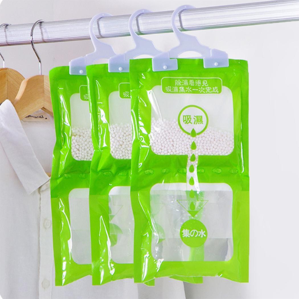 Wardrobe Hanging Anti Moisture Deodorizin Dehumidification White Desiccant Bags Green Hygroscopic 3pcs