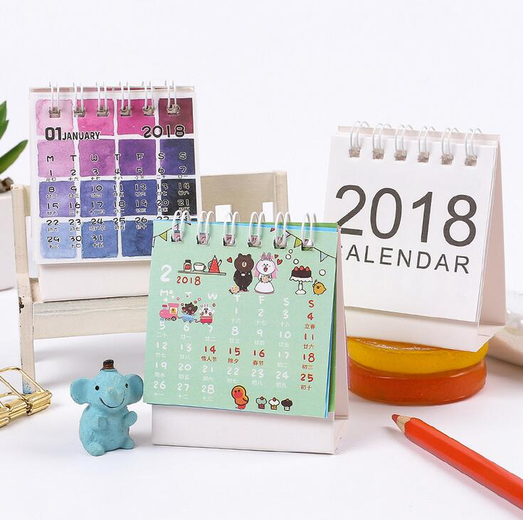 New 2018 Cartoon Brown Bear Animals Mini Desktop Paper Calendar dual Daily Scheduler Table Planner Yearly Agenda Organizer