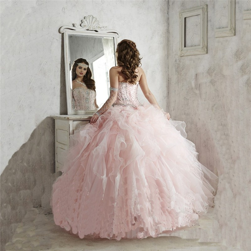 Two Piece Removable Lace Top Sweetheart Open Back Ball Gown Pink Quinceanera Dresses with Beads and Applique Vestidos De 15 Anos (3)