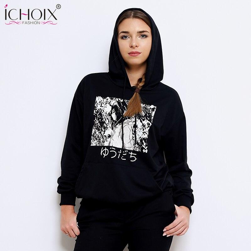 2019 New Fashion Spring Casual Hooded Sweatshirt Kawaii Long Sleeve Pullover Streetwear Hoodies Print Comics Sweatshirt Women