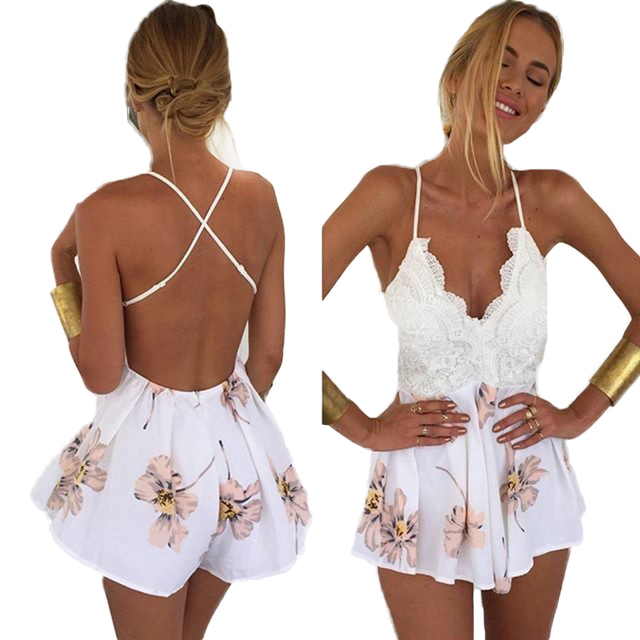 5381ac0dd870 Women Sexy Deep V-Neck Rompers Jumpsuit Plus Size Lace Summer Backless  Playsuit Hollow Out Chiffon Spaghetti Strap Overalls
