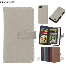 LUCKBUY 7 7Plus Covers Luxury PU Leather Wallet Matte Flip Case For iPhone 5 5S SE 6 6s Plus Phone Cases Cover With 9 Card Slots