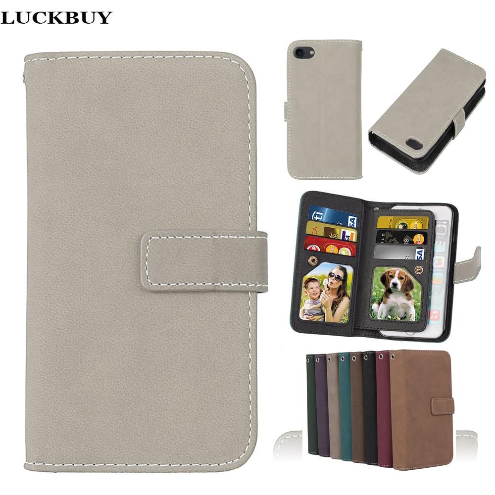 LUCKBUY 7 7Plus täcker lyx PU-läder plånbok Matt Flip Fodral för - Reservdelar och tillbehör för mobiltelefoner - Foto 1