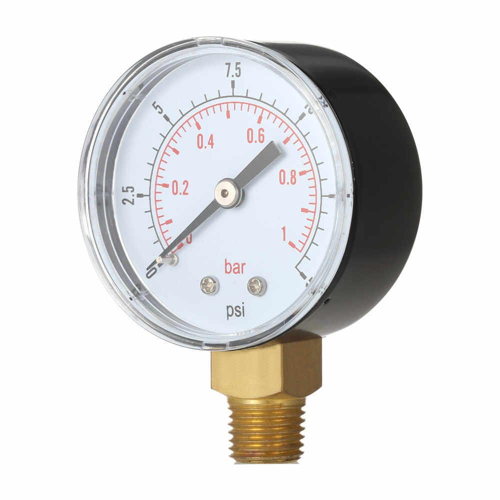 """50 ملليمتر 0 ~ 15psi 0 ~ 1bar بركة تصفية المياه ضغط الطلب مقياس لمكبس هيدروليكي المانومتر متر 1/4 """"NPT الموضوع"""