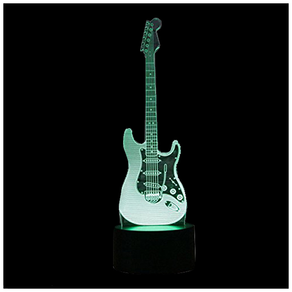 New 3D Electric Guitar Night Light 7 Color LED Change Touch Switch Table Desk Lamp Art Light Christmas Gift Valentines Kids Gi