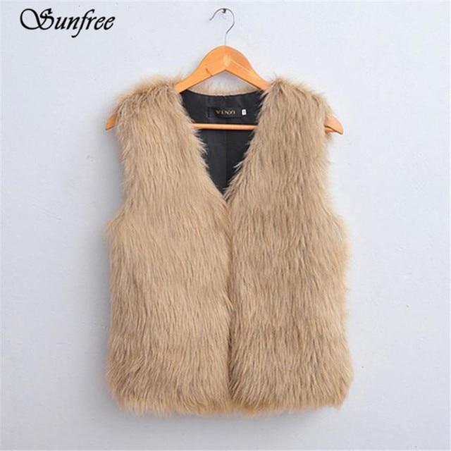 Sunfree 2016 New Hot Sale Women Vest Sleeveless Coat Outerwear Long Hair Jacket Waistcoat Brand New and High Quality Dec 22