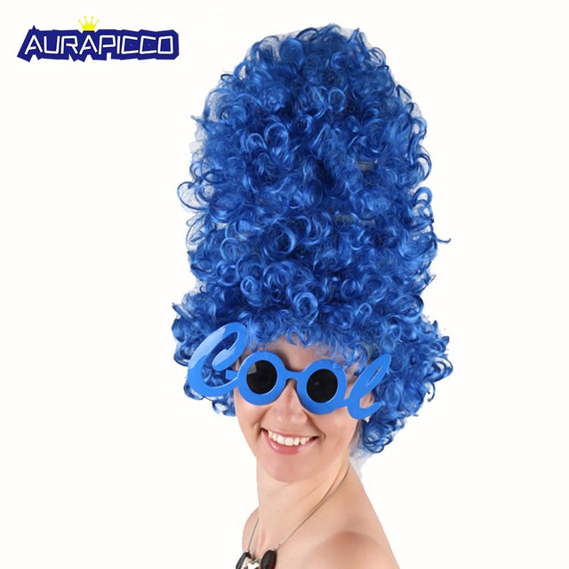 Marge Simpson Costume Blue Beehive Marge Wig Anime Deluxe Glam Hair Women Accessories Halloween Fancy Prop Gift Party Costume
