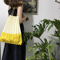 2019 Japanese Style Please Pleats Causal Tote Bag Canvas Large Capacity ME Shoulder Bag issey vertical pleats miya Candy Color