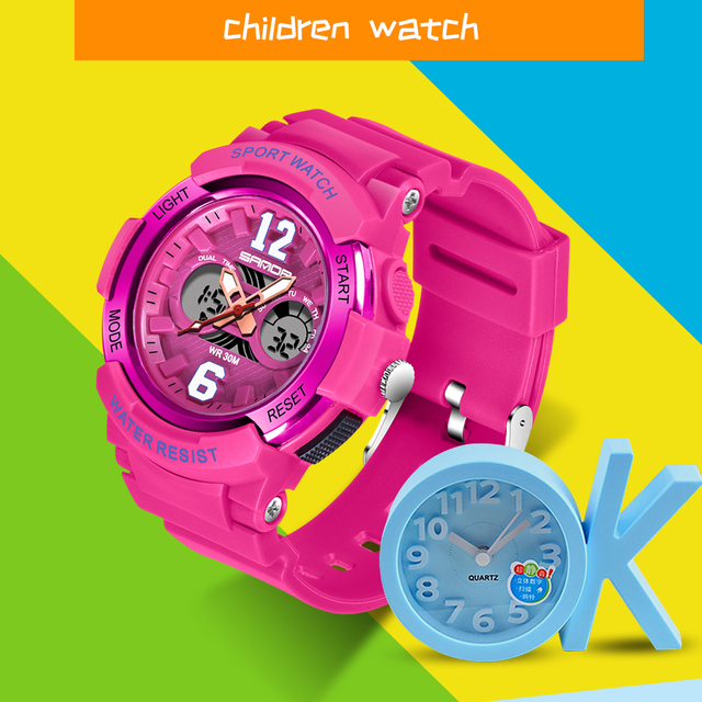 SANDA Watches Children Colorful LED Back Light Sport Kids Wristwatches Alarm Chronograph 30m Waterproof Calendar Clock Gift 757