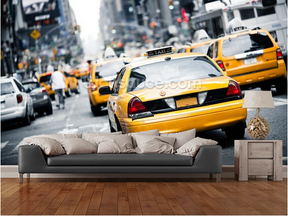 Custom photo wallpaper, New York Cabs,3D wallpaper for the living room wall painting wallpaper wall waterproof wallpaper