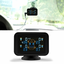 CARCHET TPMS Presión de Los Neumáticos Sistema de Monitoreo Inteligente + 4 Sensores Inalámbricos Externos Lechón LCD Display Car Auto Tire Monitor