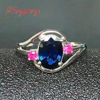18 k białego złota z 100% natural sapphire pierścień kobiet 1.5 carat Luksusowe i hojny Niebieski i zielony