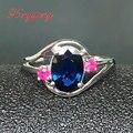 18 k de oro blanco con 100% mujeres anillo de zafiro natural 1.5 carat Lujo y generoso Azul y verde