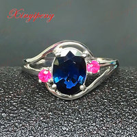 18 k white gold with 100% natural sapphire ring female 1.5carat Luxury and generous Blue and green