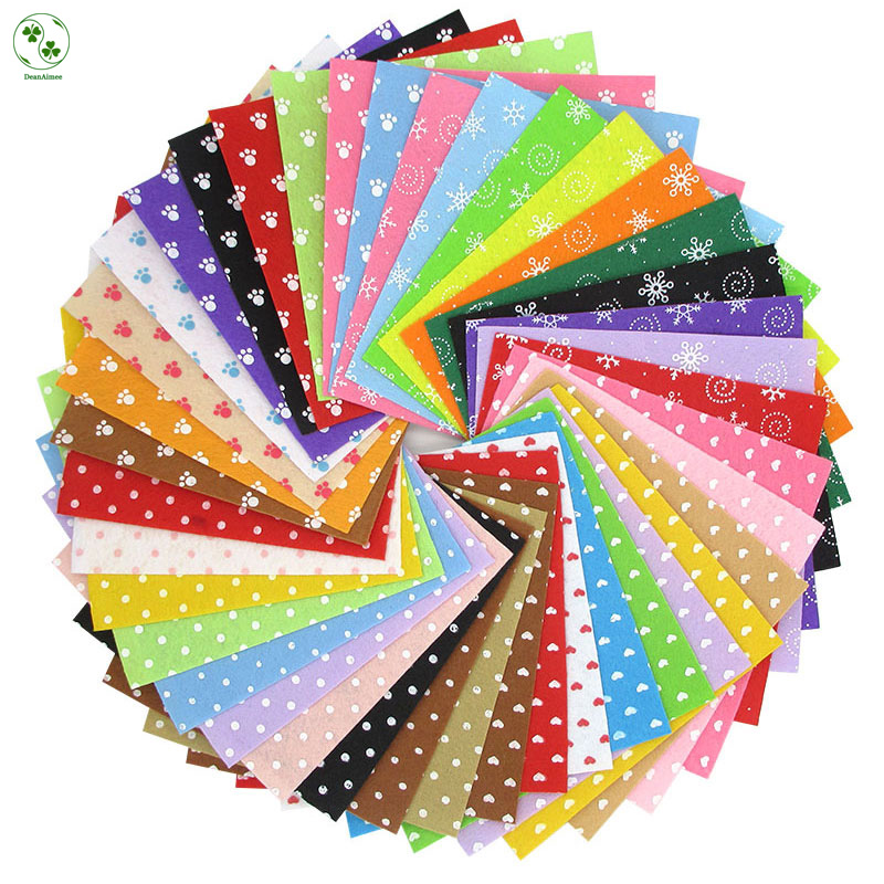 40Pcs/Lot Pattern Fabric Heart Dot Felt Cloth Nonwoven DIY Handmade Sewing Fabric Felt Mixed 4 Styles 15X15CM